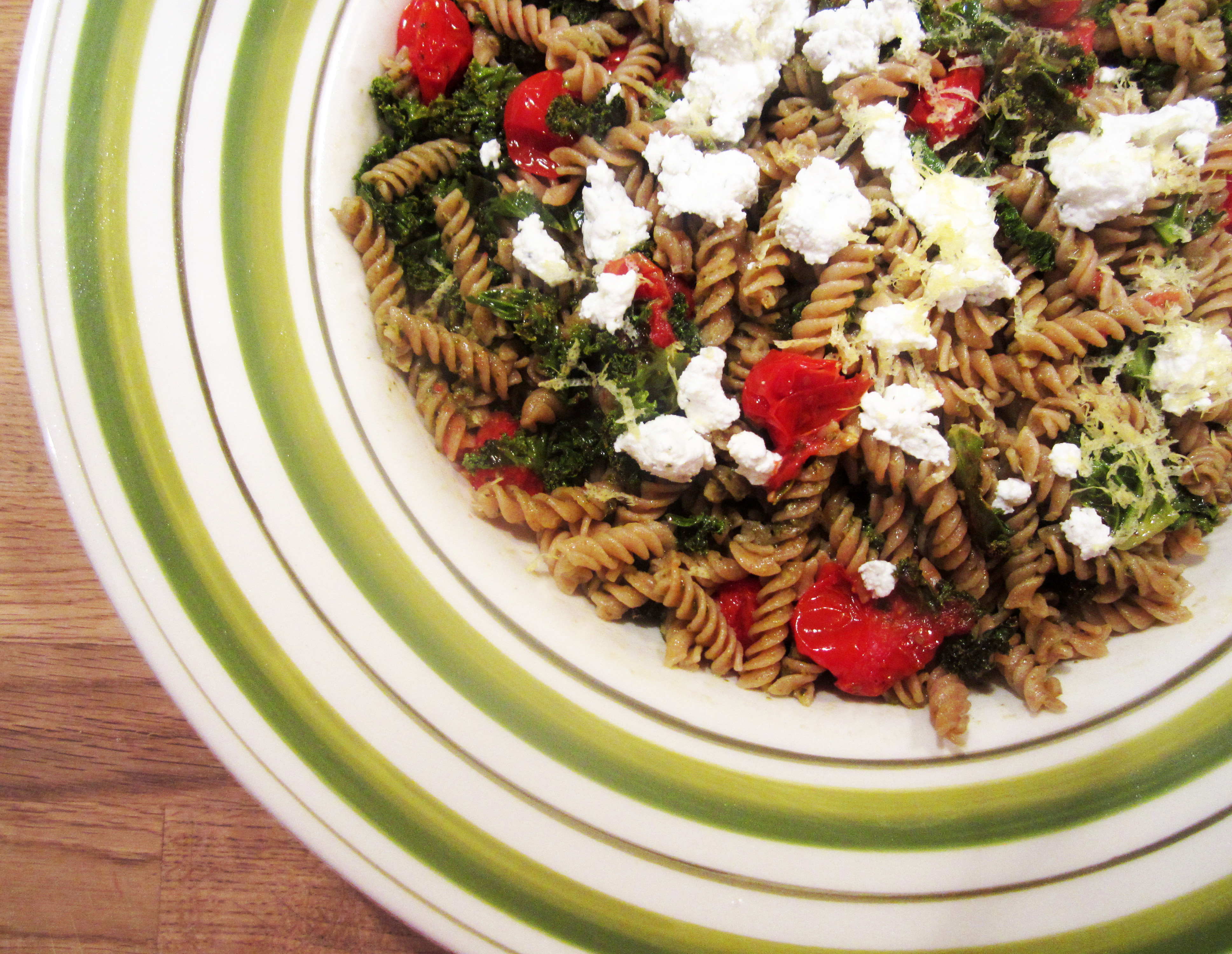 Fusili with Pesto, Goat Cheese, Roasted Tomatoes & Kale