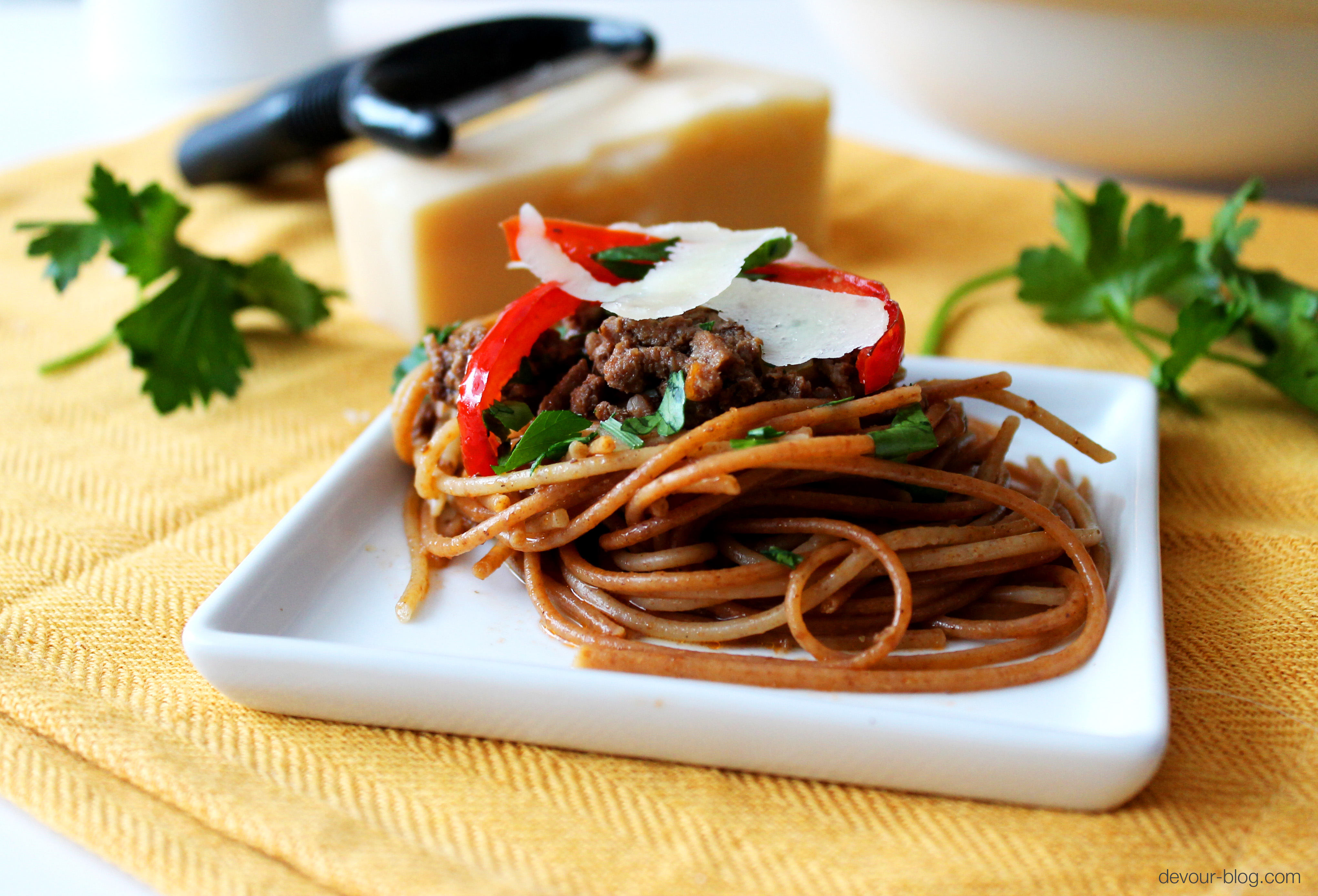 Spaghetti Bolognese with Roasted Red Peppers