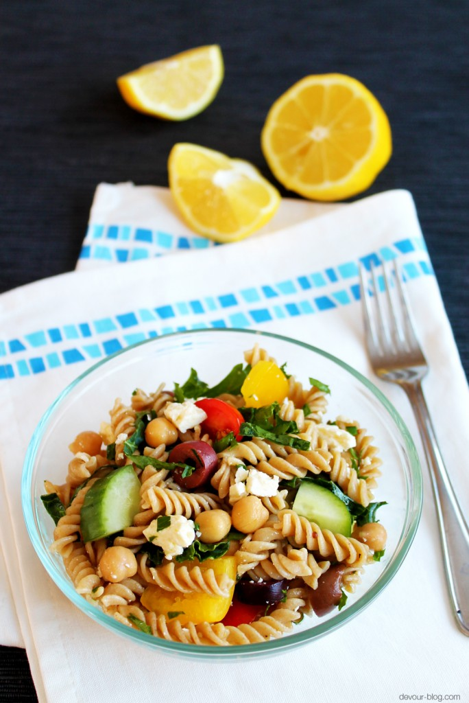 Greek Pasta Salad with Chickpeas and Kale  |  Devour