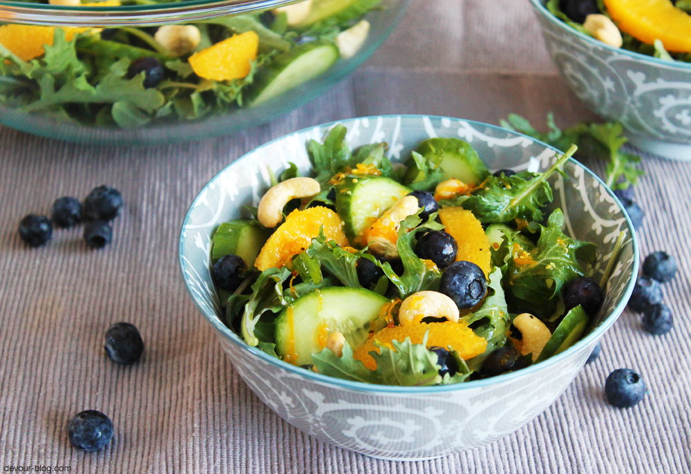 Kale and Orange Salad with Blueberries and Cashews