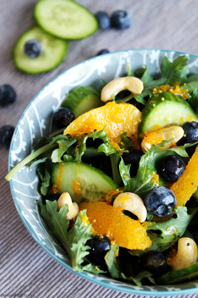 Kale Orange Salad with Blueberries and Cashews  |  Devour