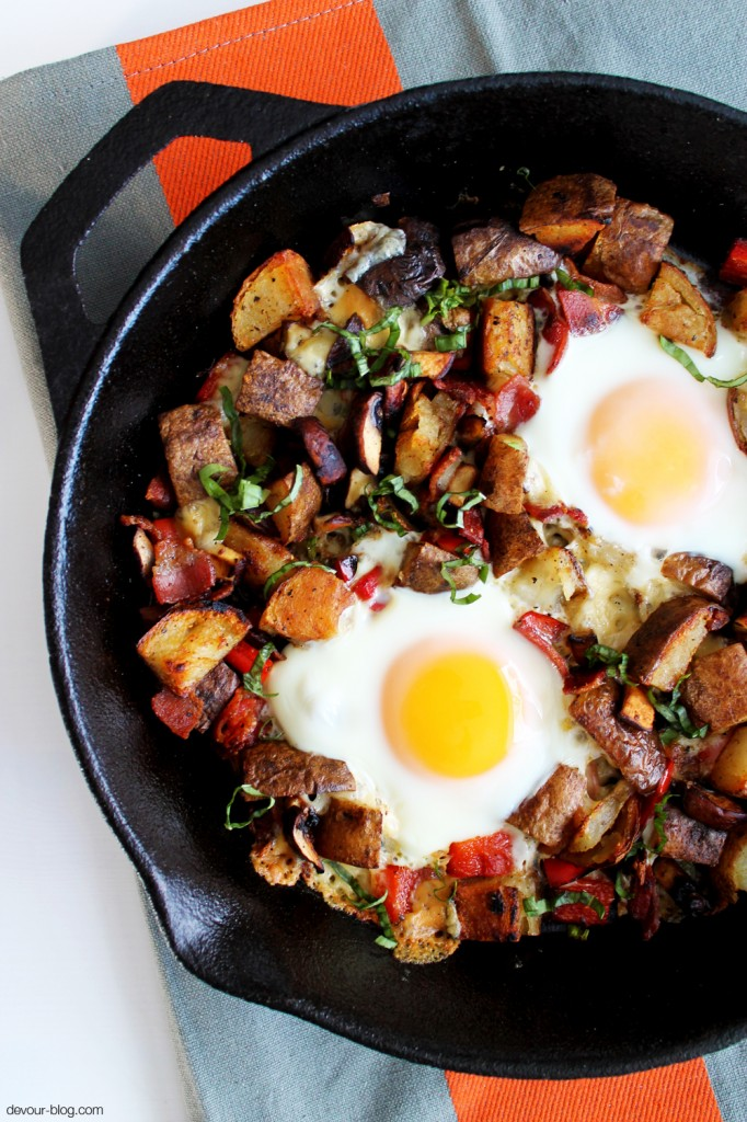 Smoked Gouda Breakfast Skillet with Bacon and Potatoes  |  Devour