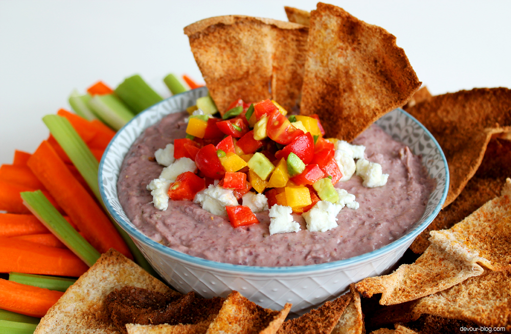 Black Bean Dip with Goat Cheese and an Avocado and Red Pepper Relish. devour-blog.com
