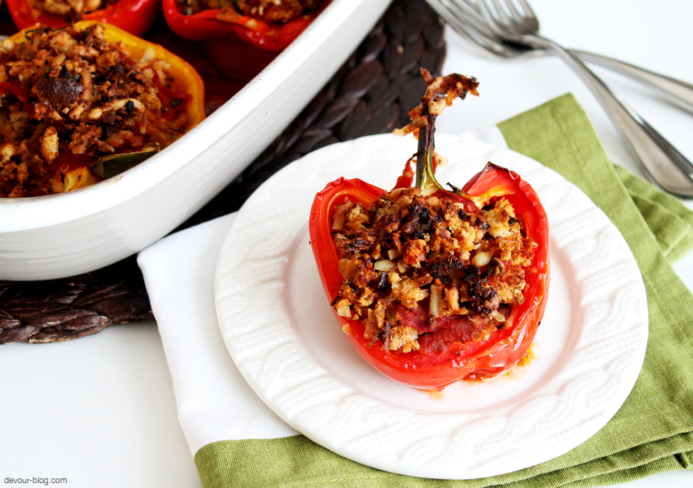 Cheesy Stuffed Peppers, full of bread crumbs, antipasto, capers and lots of cheese! devour-blog.com