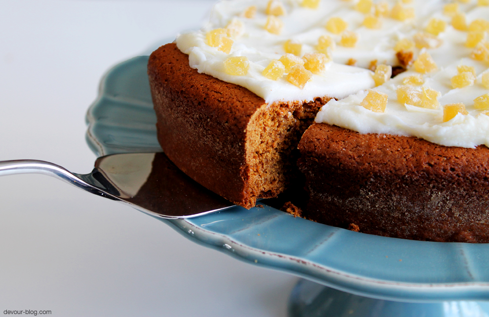 Irish Gingerbread Cake with Lemon Butter Frosting and Crystallized Ginger. devour-blog.com