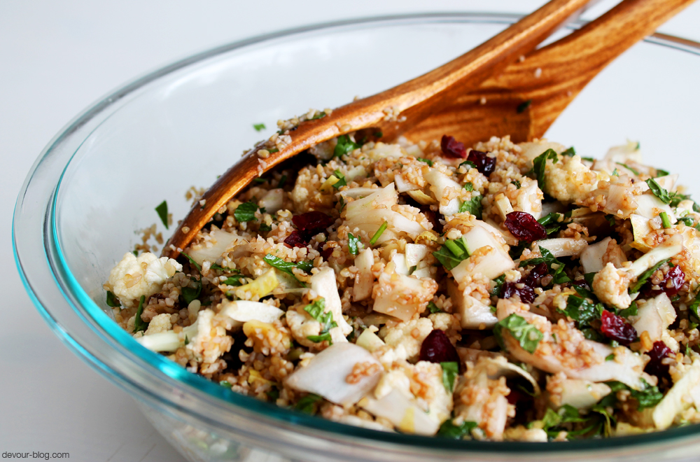 Pomegranate Tabbouleh with Winter Vegetables. devour-blog.com