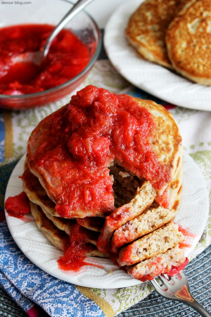 Oatmeal Ginger Pancakes with Strawberry Rhubarb Compote. devour-blog.com