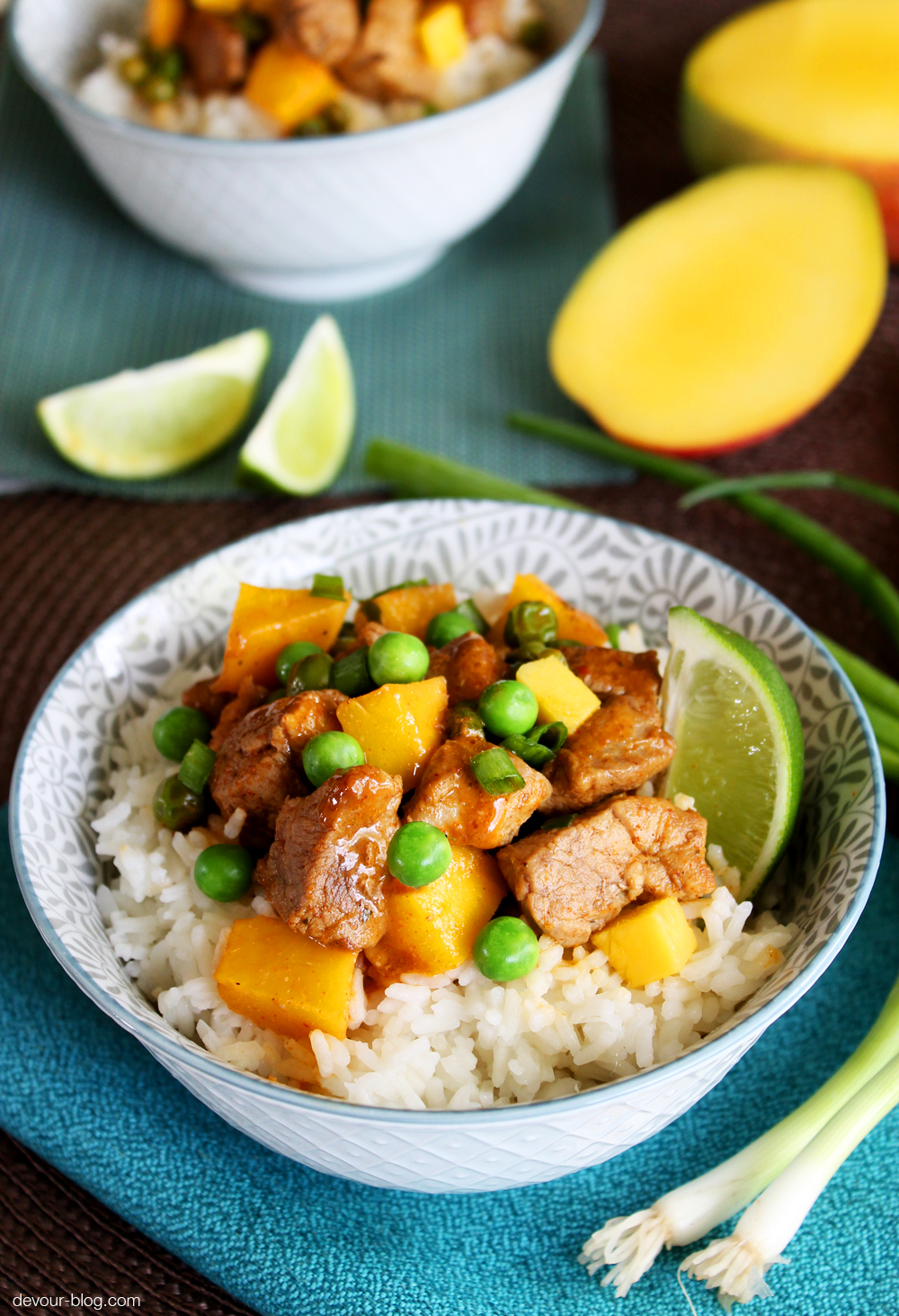 Red Curry Coconut Pork with Mango and Peas. devour-blog.com