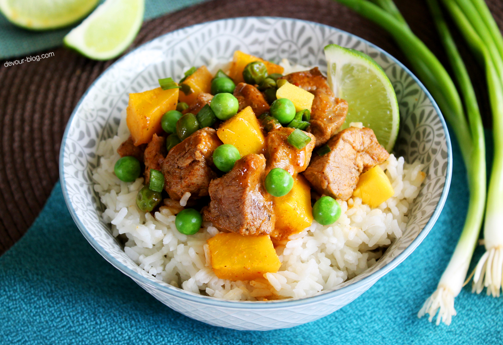 Red Curry Coconut Pork with Mango