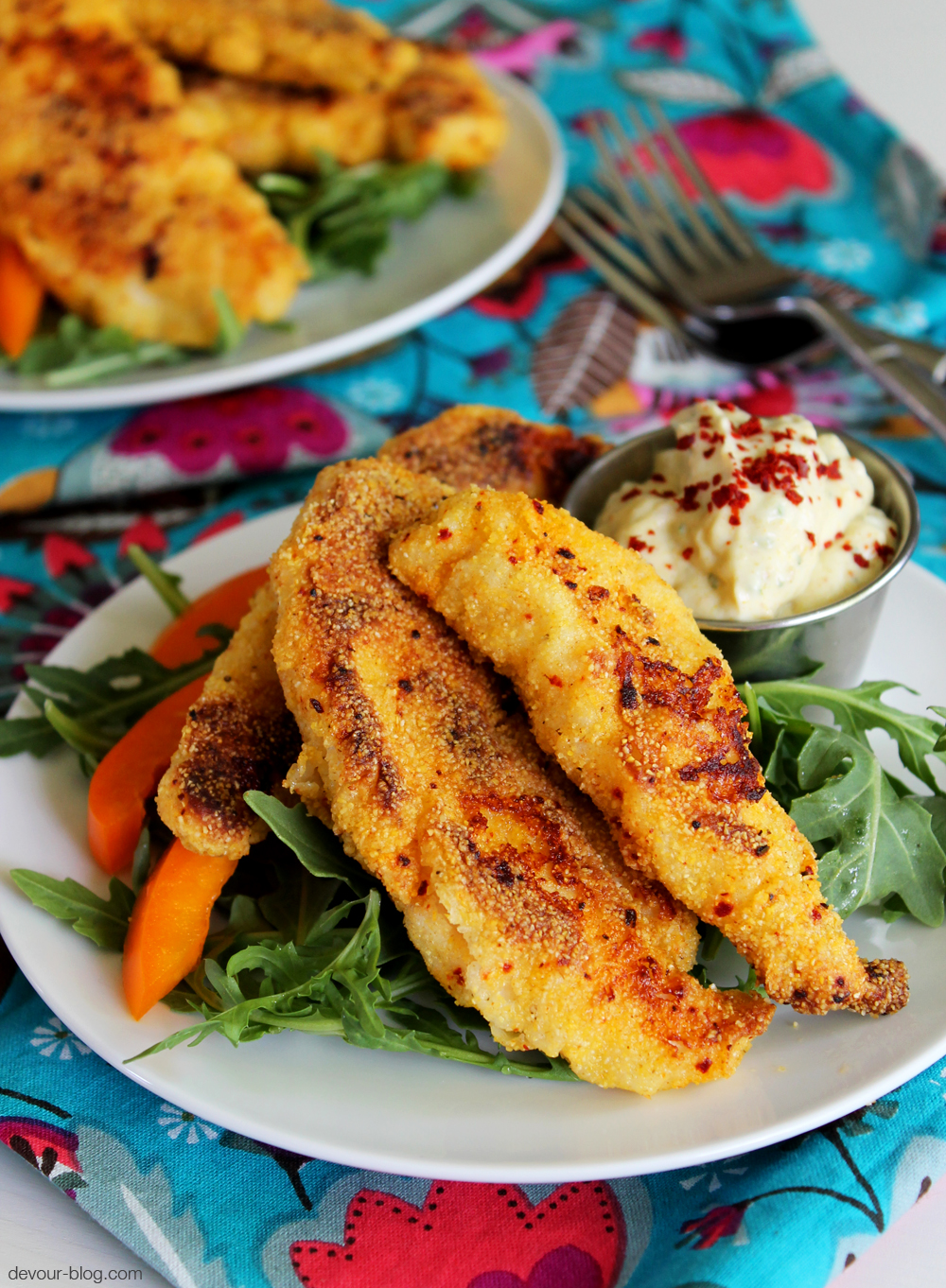 Cornmeal Crusted Chicken Tenders. devour-blog.com