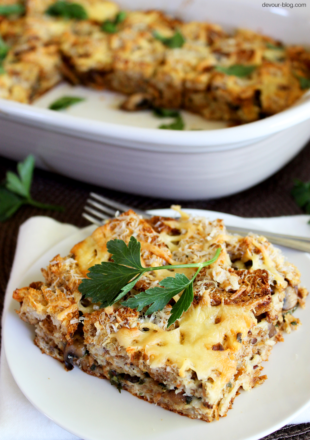 Mushroom Fontina Bread Pudding with fresh herbs and parmesan. devour-blog.com