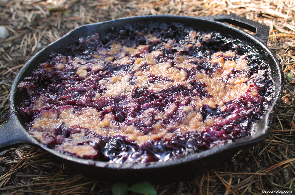 Campfire Triple Berry Cobbler. A perfect camping dessert! devour-blog.com
