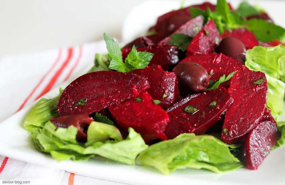 Beet Salad with olives, lemon and fresh herbs. devour-blog.com