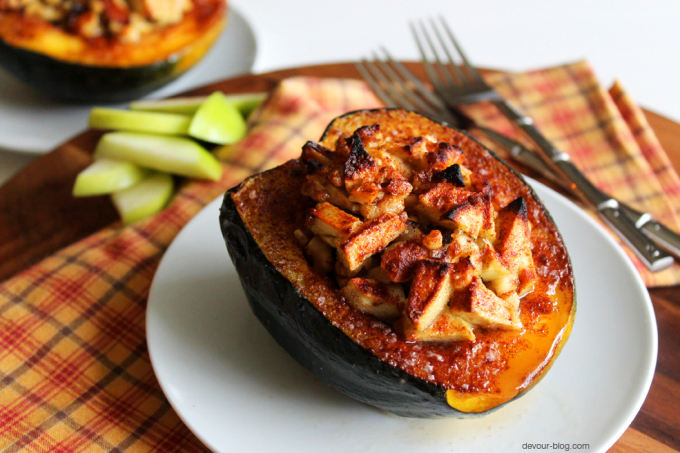 Apple Walnut Stuffed Acorn Squash
