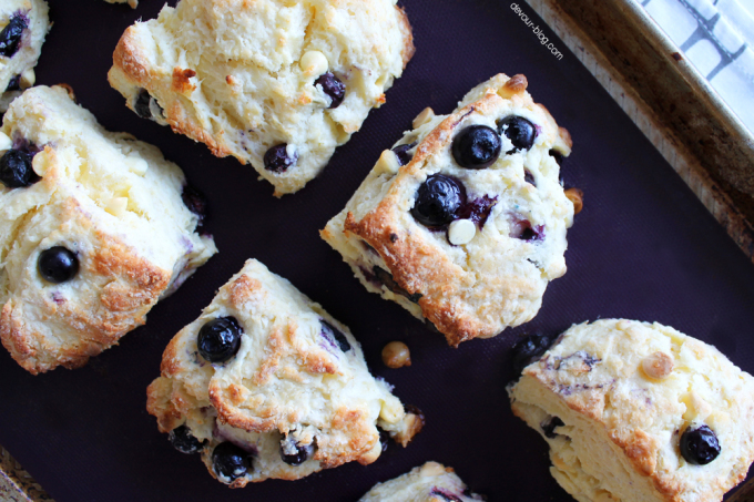 White Chocolate Blueberry Scones. devour-blog.com