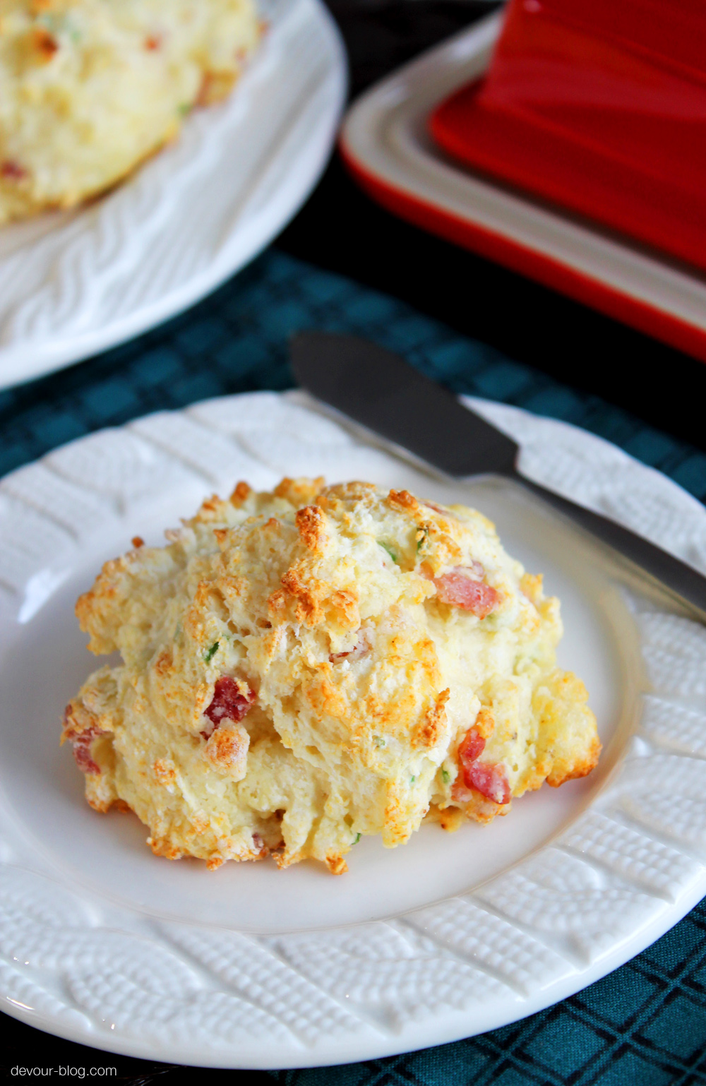 Bacon Cheddar Chive Drop Biscuits. devour-blog.com