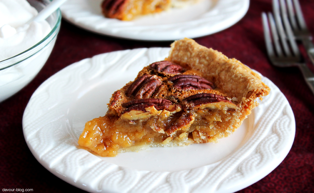 Pecan Pie with Vanilla Bourbon Whipped Cream. devour-blog.com